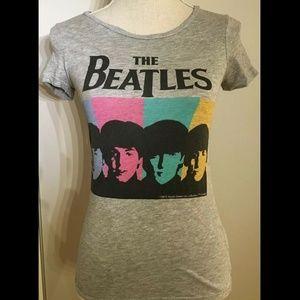 The Beatles Graphic Pop Art T-Shirt Gray